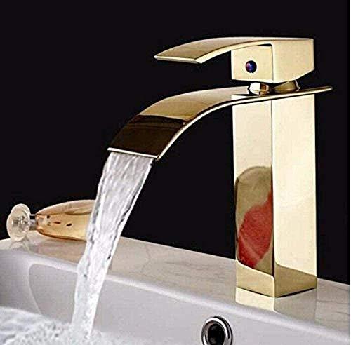 Waterkraan waterkraan New Fashion Luxe massief messing vierkant Bridge Mounted waterval badkuip waterkraan wastafel badkamer waterkraan waterkraan met een hendel