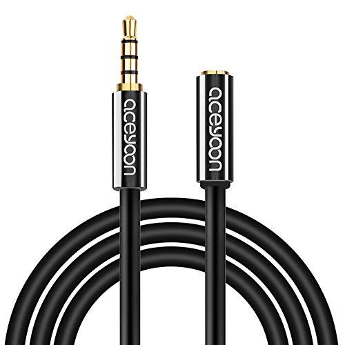 aceyoon ヘッドホン 延長コード 3m 3.5mm 四極 ステレオミニプラグ オーディオ延長ケーブル オス メス 複数本銅ワイヤ 高伝導度 ステレオケーブル 高純度銅芯 AUX ケーブル iPhone Android 車載 AUX など最適 3メートル
