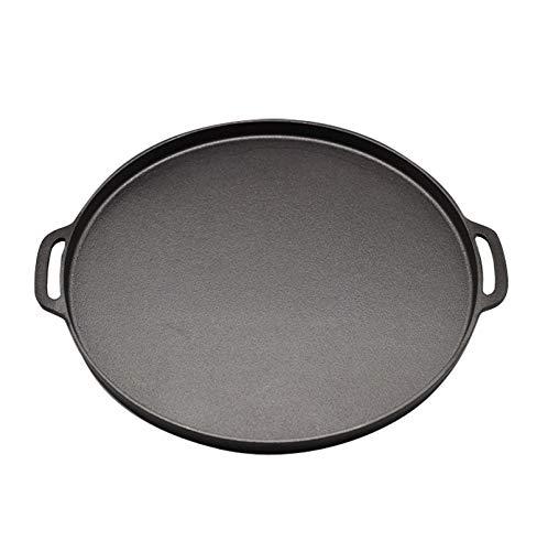 Poêle à Wok En Fonte 34 Cm D'épaisseur Double Oreille Non Revêtue Poêle à Induction Cuisinière à Gaz Universel Friteuse Binaural,34cm