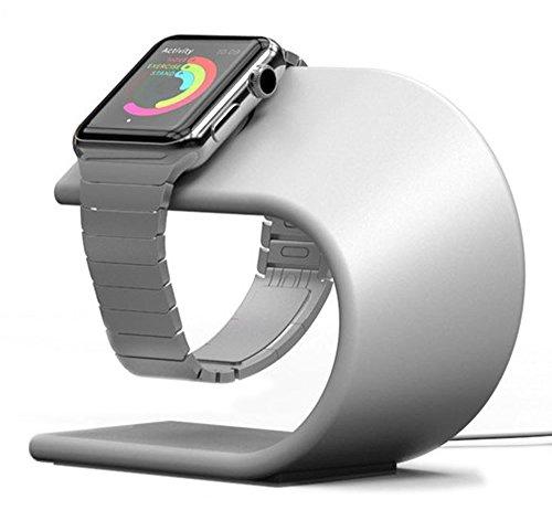 PUGO TOP Stand Replacement for Apple Watch Series 4 3 2 1, iWatch Alluminio di Ricarica della Staffa del Basamento della Stazione di aggancio della Culla del Supporto per Apple Watch (Argento)