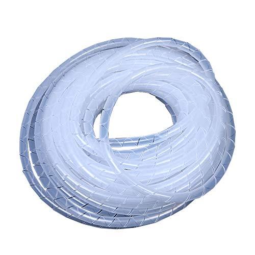 YUE QIN 15 Meter Ummantelungsschlauch Kabel Spiralschlauch für hochwertiges Kabelmanagement12mm Außendurchmesser (Weiß)