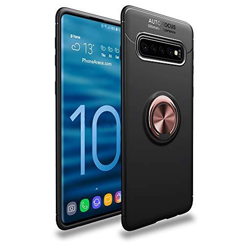 CASEWRS Hülle für Samsung Galaxy S10zurück, Ultradünne TPU Handyhülle fit weiche TPU Telefon Abdeckung Schutz mit fingerring Halterung,Schwarz + Roségold