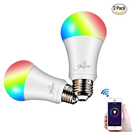 Smart LED WiFi Lampen, Jinvoo (2 packs) 6W Dimmbar RGBW Birne E27 Mehrfarbig 16 Millionen Farben, kompatibel mit Alexa und Google Home, Fernbedienung von IOS & Android, MEHRWEG [Energieklasse A +]