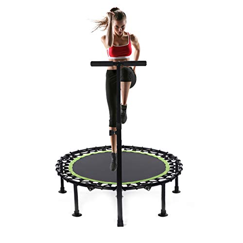 WV WONDER VIEW 40 Inch Mini Trampoline, Rebounder with Adjustable Foam Handle Fitness Trampoline for Kids Adults