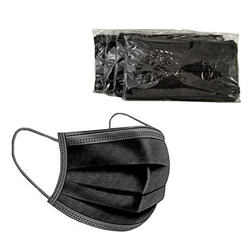 BAIDEREN® Maske Schutzmaske, 3 Lagig Einweg Mund und Nasenschutz Maske (50 Stück) (Schwarz)