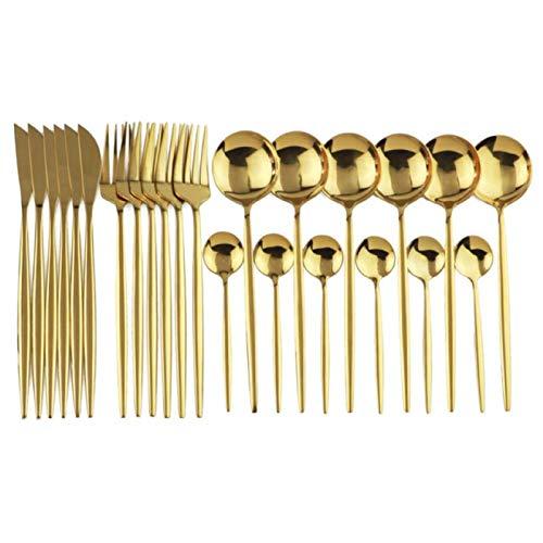 BAIHUAXIN Conjunto de talheres dourados, 24 peças, para 6 pessoas, conjunto de talheres dourados polidos antiferrugem, inclui faca/garfo/colher/colher de café