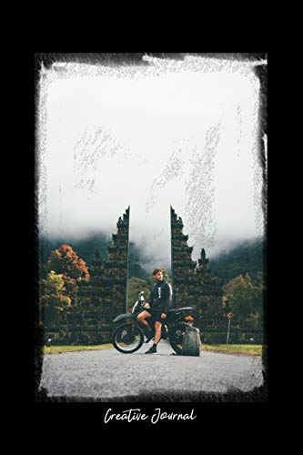Creative Journal: Dot Grid Journal - Man Motorbike Adventure Mist Ruins Building - black Dotted Diary, Planner, Gratitude, Writing, Travel, Goal, Bullet Notebook - 6x9 120 pages
