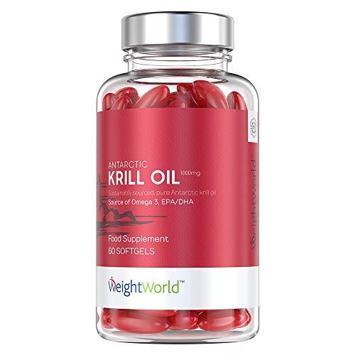 Krillöl Kapseln hochdosiert - 1000mg Premium Antarktis Krill Öl mit Omega 3 - Laborgeprüft & Nachhaltig - Reich an Astaxanthin, Cholin, Phospholipide sowie DHA & EPA - 60 Omega 3 Krillöl Kapseln