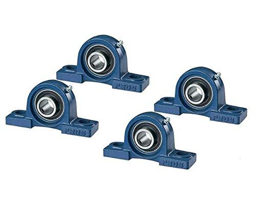 DOJA Industrial | Rodamientos con Soporte UCP 204 | Cojinetes de Bolas para Eje de 20mm | Pack de 4 unidades | Principales usos: Fresadoras, Impresora 3D, Bricolaje.