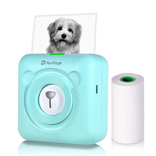 Aibecy PeriPage Mini Fotodrucker Wireless BT Thermodrucker Picture Label Memo Receipt Drucker mit USB Kabel fur Android iOS Smartphone Windows Grun
