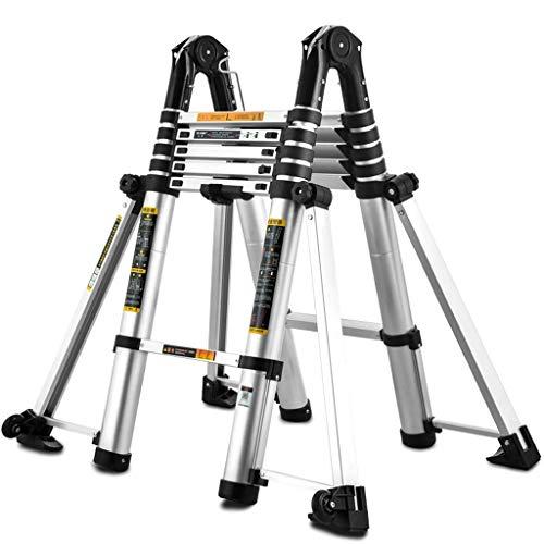 AFDK Teleskopierbare Leiter mit Stabilizer Bar, Aluminium Heavy Duty Schiebeleiter für Treppen/Loft/Dachzelt/Camper, lädt 150Kg,1,7 + 1,7 Mio.