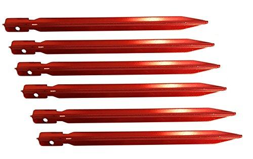 Everest1953 y lot de 6 piquets de sol avec boucle en aluminium piquets 40561 piquets pour tente rouge häringe y 18 cm - 15 g