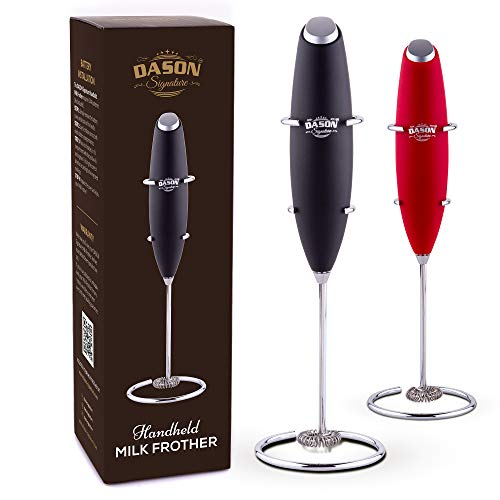 Hand MILK FROTHER - drink mixer portable Electric mini foam maker with stainless whisk - accessories for bulletproof coffee, cappuccino, latte, frappe, matcha - battery operated milk foamer (Black)
