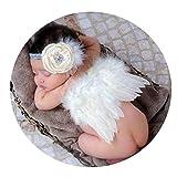 Accesorios de fotografía para recién Nacidos Bebés Bebés Niñas Alas de Plumas de ángel Plumas Foto Prop Alas Ropa Niñas Encaje Sombreros - Blanco