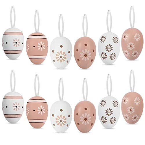 O-Kinee Uova di Pasqua, Decorazioni Pasquali, Uova di plastica, 12 Pezzi da AppendereColorate Uova Pasquali con La Corda, Pasqua Decorazioni casa, Decorazione e Regali del Partito di Pasqua