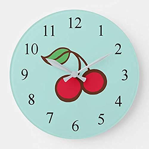 prz0vprz0v Reloj de pared rústico 12' decoración de pared retro cenador cocina turquesa cerezo reloj de pared de madera decorativo redondo reloj colgante