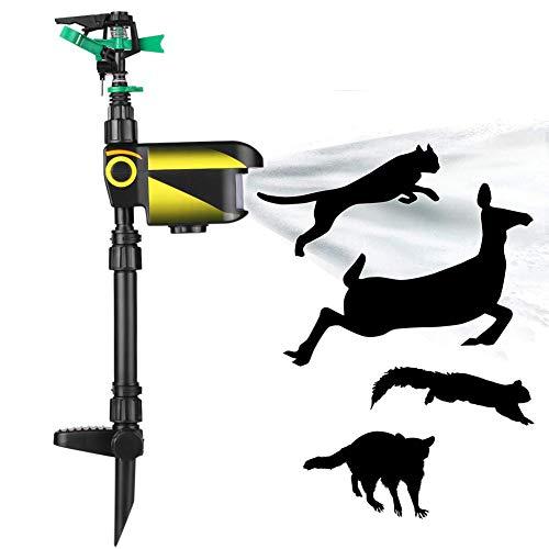 POOPFIY Movimiento de energía Solar Activado Animal Pájaro Repelente de Ratones Jardín Césped Aspersor Repelente Sensor de Movimiento Luz de Flash Perro Gato