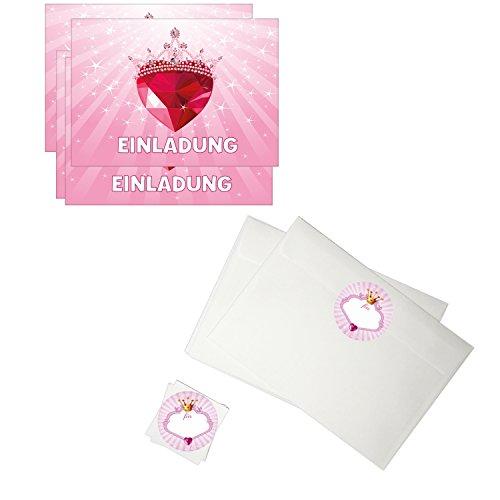 16 Einladungskarten Kindergeburtstag mit Umschlag / Prinzessin / Mädchen / Rosa / Herzdiamant
