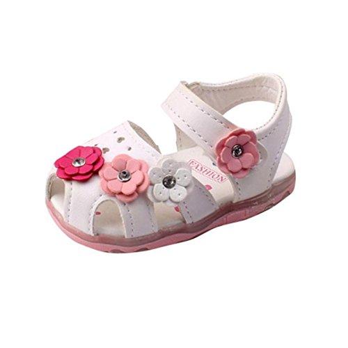 Sandalias bebé niñas Verano Zapatillas Sandalias para niñas pequeñas con Flores LED Zapatos de bebé con Suela Suave Recién Nacido Calzado 0-4 Años (Blanco, Tamaño:12-24Mes / 17)