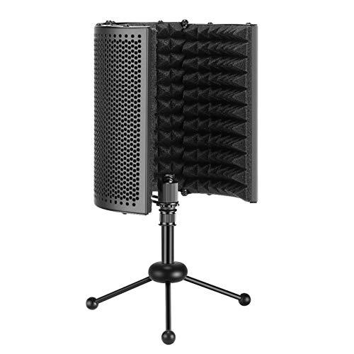 Neewer NW-13 Escudo Aislamiento Micrófono Compacto Plegable con Trípode Reflector Espuma Absorción...