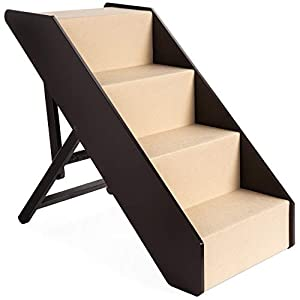 Best Choice Products 4-Step Foldable Adjustable, Non-Slip Wide Wooden Pet Stairs for Living Room, Bedroom, Dog & Cat Sizes Small, Medium, Large w/Carpet, No Assembly, Ideal for Injured, Elderly Pets