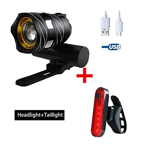 Fahrradlichter Set LED ,Fahrrad Licht Set, Fahrrad Scheinwerfer Mountainbike USB Auto Scheinwerfer Aufladen, Langstrecken Fahrrad Licht Nacht Reiten Blendlicht, wasserdichtes Fahrrad Licht-Black