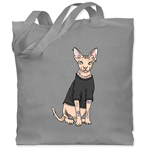 Shirtracer Katzen - Tattoo Sphynx-Katze - Unisize - Hellgrau - sphynx - WM101 - Stoffbeutel aus Baumwolle Jutebeutel lange Henkel