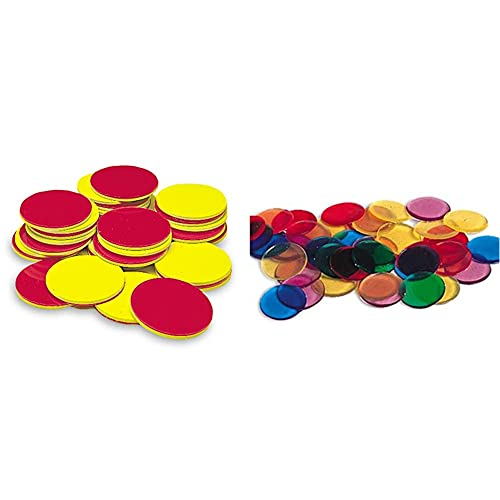 Learning Resources Two-Color Counters, Red/Yellow, Set of 200, Grades K+, Ages 5+ & Transparent Color Counting Chips, Set of 250 Assorted Colored Chips, Ages 5+
