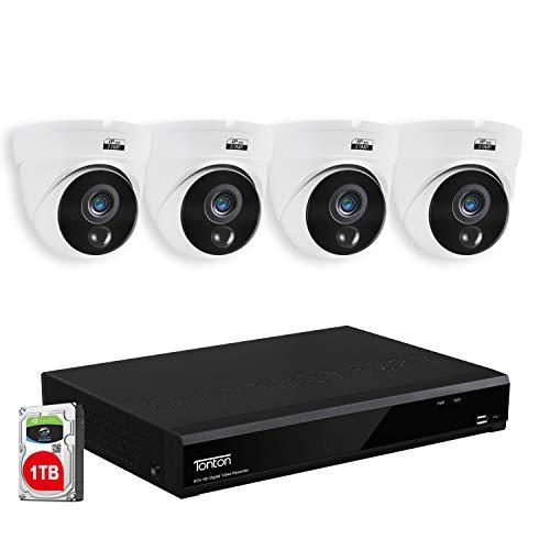 【PIR-Bewegungsmelder】 Tonton 1080P Full HD Video Überwachungssystem 8CH 1080P HDMI DVR Recorder mit 4 Außen 2.0MP 3000TVL Weiß Überwachungskamera Set 20M IR Nachtsicht PIR Sensor 1TB HD Festplatte
