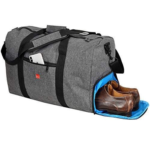 KEANU Damen Herren Sporttasche Reisetasche :: Volumen 40 Liter mit XL Trinkflaschen Halter und großem Schuhfach :: Handgepäck Fitness Yoga Schwimmen Sauna Tasche (Dark Grey Blue Trims) (Grau Melange)
