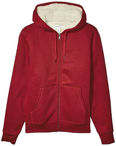 Amazon Essentials Men's Sherpa Lined Full-Zip Hooded Fleece Sweatshirt, Red, Small