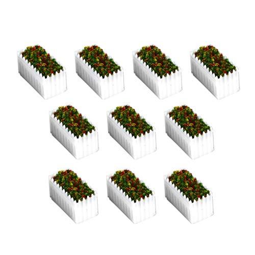 Generic 10 x blomkrukor blommor flerfärgade miniatyrer med träkruka för dockhus
