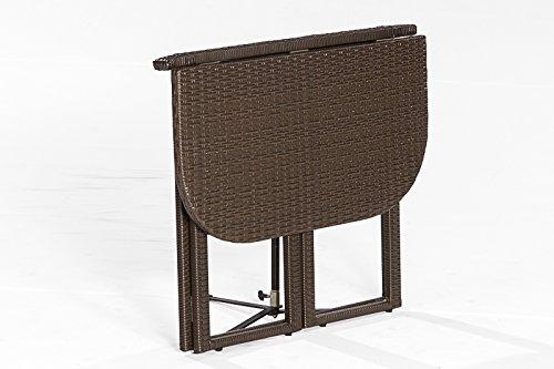 gartenmoebel-einkauf Balkon - Klapptisch Graz 90x50cm, Stahlgestell + Polyrattan Geflecht braun