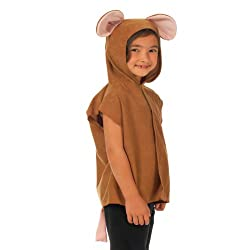 Charlie Crow Brown Mouse costume for children T-Shirt style outfit includes tunic, tail and hood. Fits kids aged 3-8 years. 100% polyester. Machine washable. Conforms to European safety regulations. As a precaution keep away from fire. For more infor...