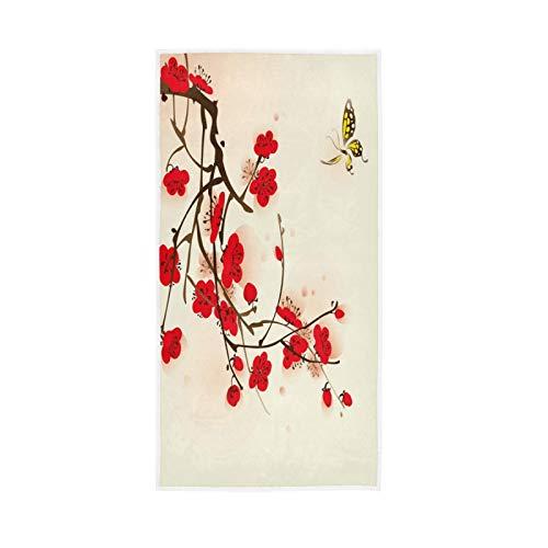 LUCKYEAH Toallas japonesas de flores de ciruelo para niñas mujeres niños toallas de mano de algodón suave absorbente toalla de sudor para el hogar, hotel, piscina, gimnasio, 76 x 38 cm