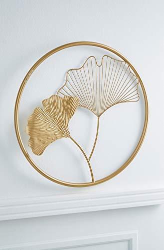 3D Wandbild Gingko aus Metall, golden, rund, Ø 43 cm, Wandschmuck, Wanddeko, Wandverzierung, Deko-Objekt