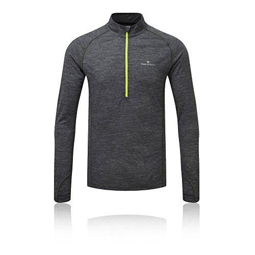 Ronhill T- Shirt Zip Merino Infinity-Hiver 2018 Homme, Grey Marl/Fluo Yellow, FR (Taille Fabricant : XL)