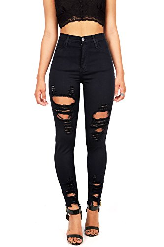 Vibrant Women's Juniors High Rise Jeans w Heavy Distressing Black 15