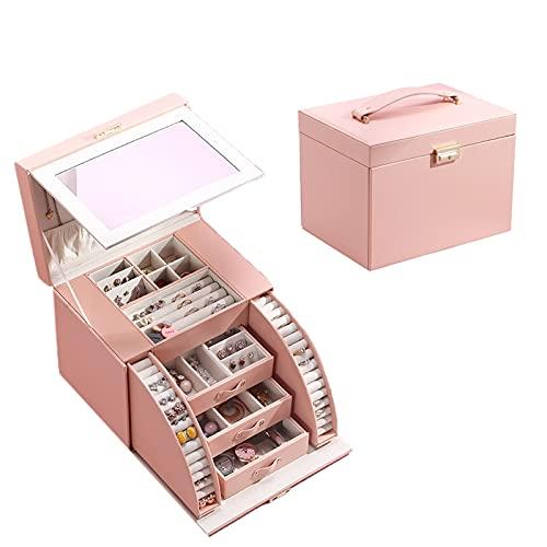 NGLSCXR Caja de joyería, Caja de Almacenamiento de Joyas con Espejo, PU Soporte de joyería de exhibición de Cuero, con 3 cajones, Anillos de Pendiente Collares Pulseras de Pantalla, para niñas y muj