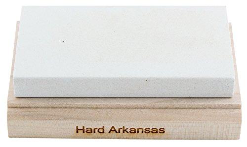 RH PREYDA Hard Arkansas Schleifstein, Körnung 800-1000, Stein 100x50x12 mm, Holzplattform