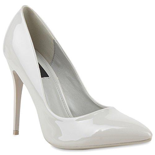 Spitze Damen Pumps Lack Stiletto High Heels Metallic Party Glitzer Abiball Hochzeit Schuhe 114339 Grau 36 Flandell