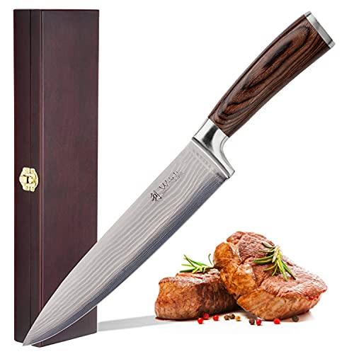 Wakoli EDIB Damastmesser Chefmesser 20 cm Klinge extrem scharf aus 67 Lagen I Damast Küchenmesser und Profi Kochmesser aus echtem Damaststahl mit Pakkaholz Griff