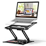 Adjustable Laptop Stand, FYSMY Ergonomic Portable Computer Stand with Heat-Vent to Elevate Laptop, 13 Lbs Heavy Duty Laptop Holder Compatible with MacBook, Air, Pro All Laptops (Black)