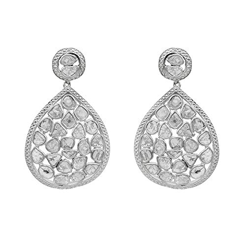 4.50 Ctw Pendientes colgantes con forma de pera Polki de diamante natural - Chapado en platino de plata 925 - Joyería contemporánea moderna