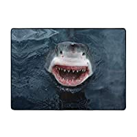 サメ 室内用ラグ リビングルーム キッチン フロアマット 家の装飾 ノンスリップ フロアパッド ラグ スーパーソフト スローラグ カーペット 80 X 58インチ