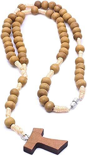 Yiffshunl Collar católico de Madera marrón Rosario Cuentas ortodoxas Cruz Tejida Collar de Cuerda joyería Religiosa Hombres Mujeres