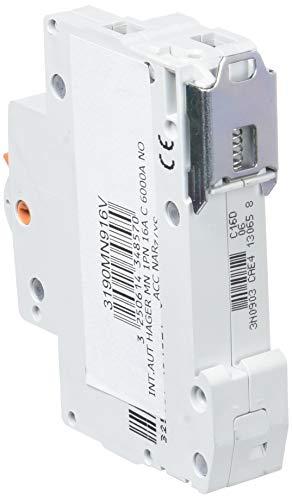 Hager serie mn - Interruptor automático mn 1 polo+neutro 16a curva-c