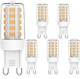 MLlichten Bombillas LED G9 Regulable 2700K Blanco Cálido, 5W Equivalente 40W 50W Halógeno, Sin Parpadeo G9 LED Bombillas, AC220-240V G9 Lámpara LED , Ángulo de Luz de 360°, Paquete de 5