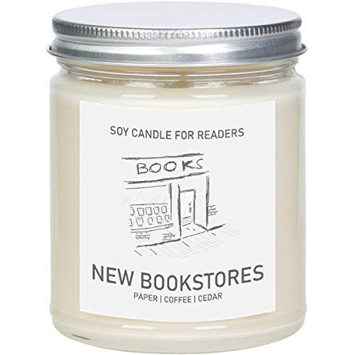 New Bookstores - Book Shop -8 oz Glass Jar Literary Soy Candle - Book Candle - Book Lover Gift - Soy Candle Handmade.