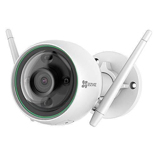 EZVIZ C3N Cámara IP WiFi de vigilancia y Seguridad para Exterior. FHD 1080P. IP67 Impermeable. Visión Nocturna a Color. Compatible con Alexa y Google Home. H.265